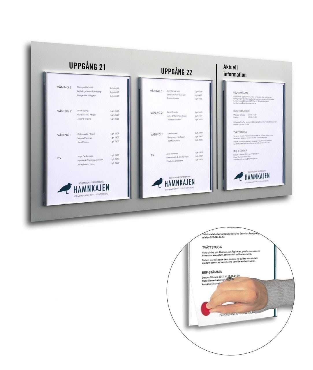 Bulletin board with replaceable A4-size printouts – SLIM (SL833)