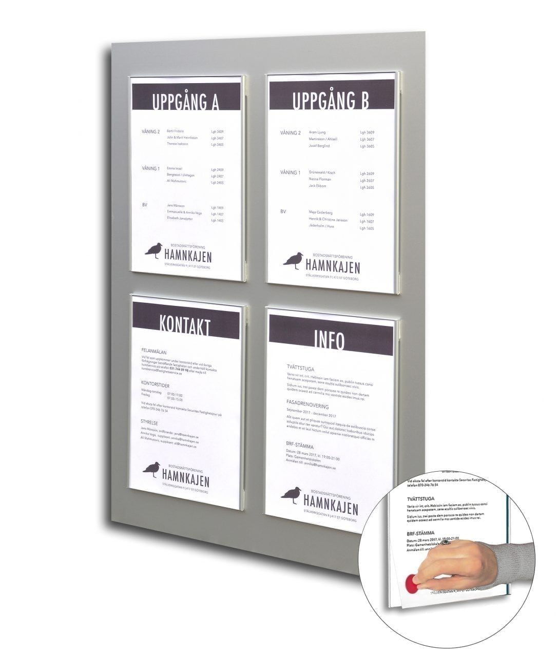 Bulletin board with replaceable A4-printouts – SLIM (SL834)