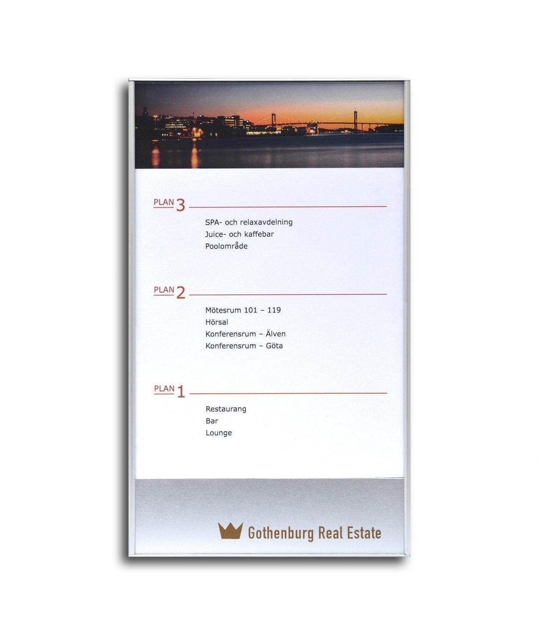 Flat directory sign with replaceable A5-size insert – SLIM (SL806)