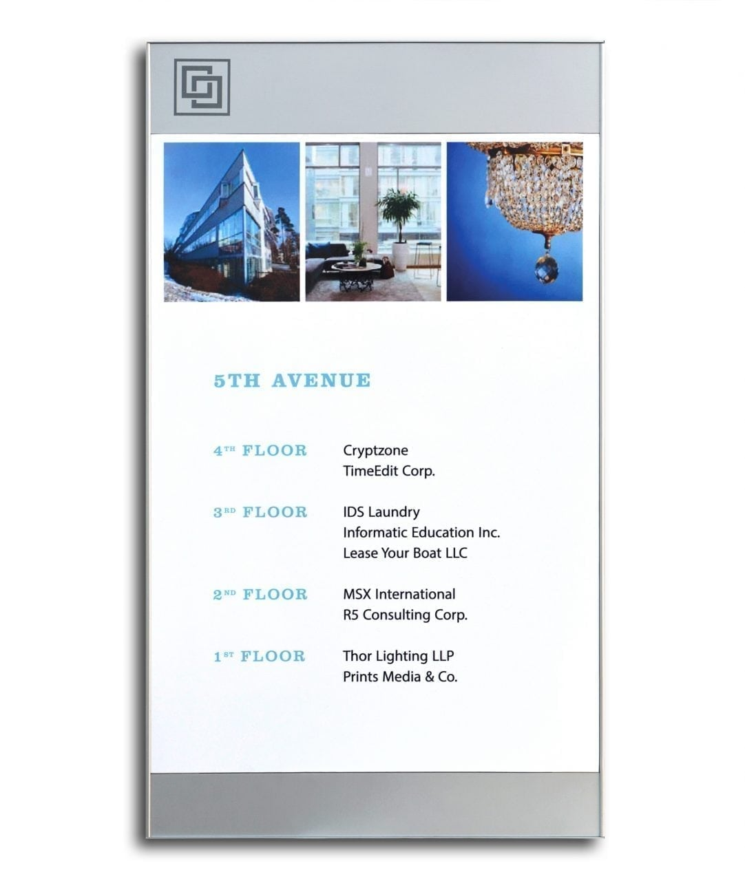 Flat directory sign with replaceable A3-size insert – SLIM (SL808)