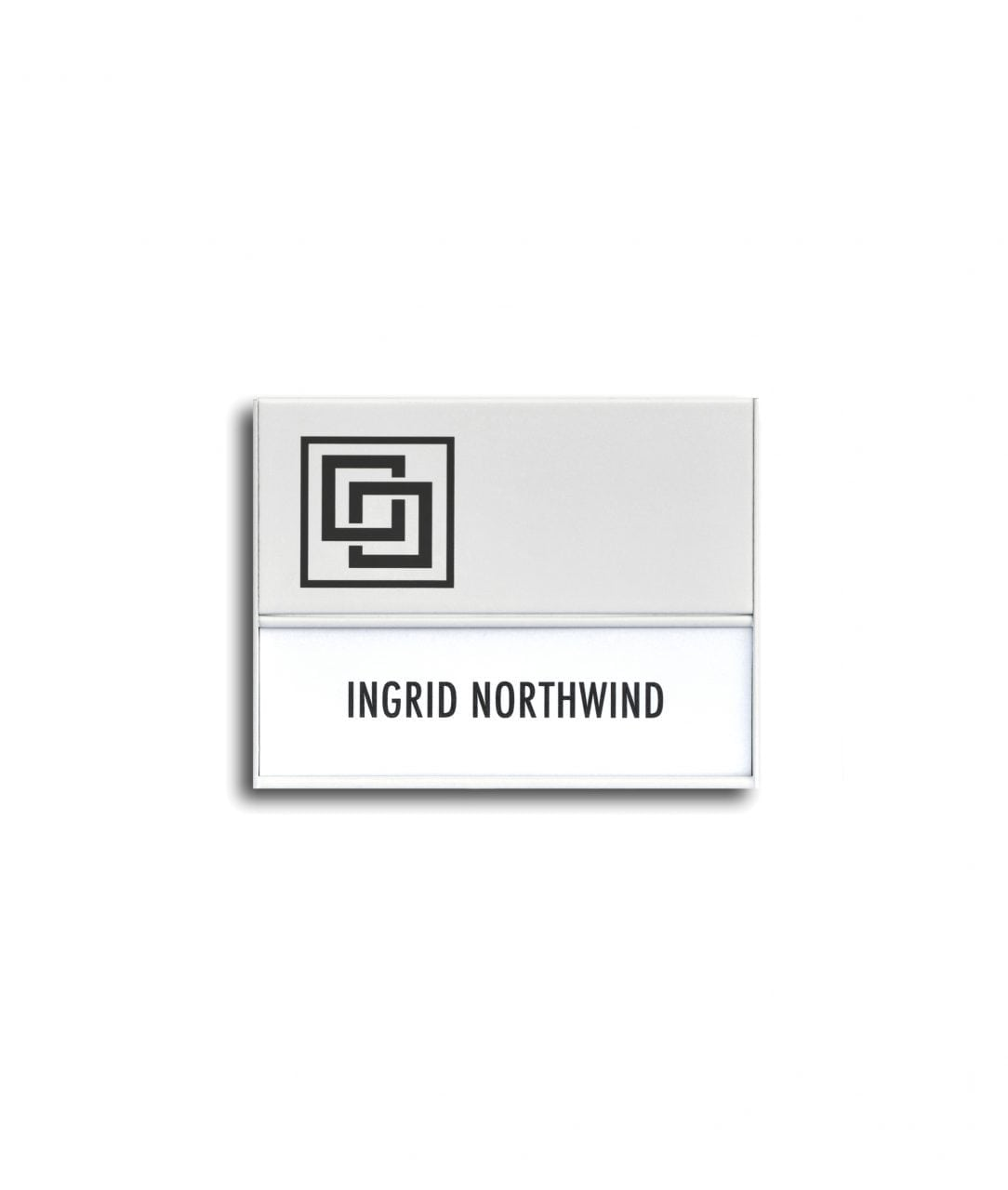 Flat nameplate with sign header, white coated – SLIM (SL893)