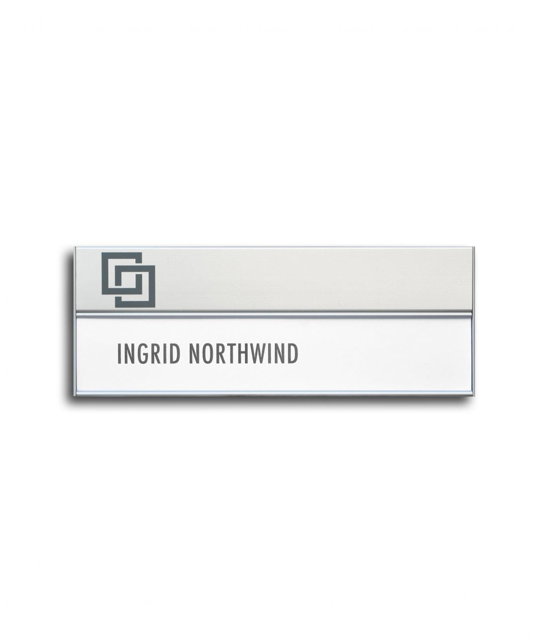 Flat nameplate with sign header and replaceable insert – SLIM (SL886)