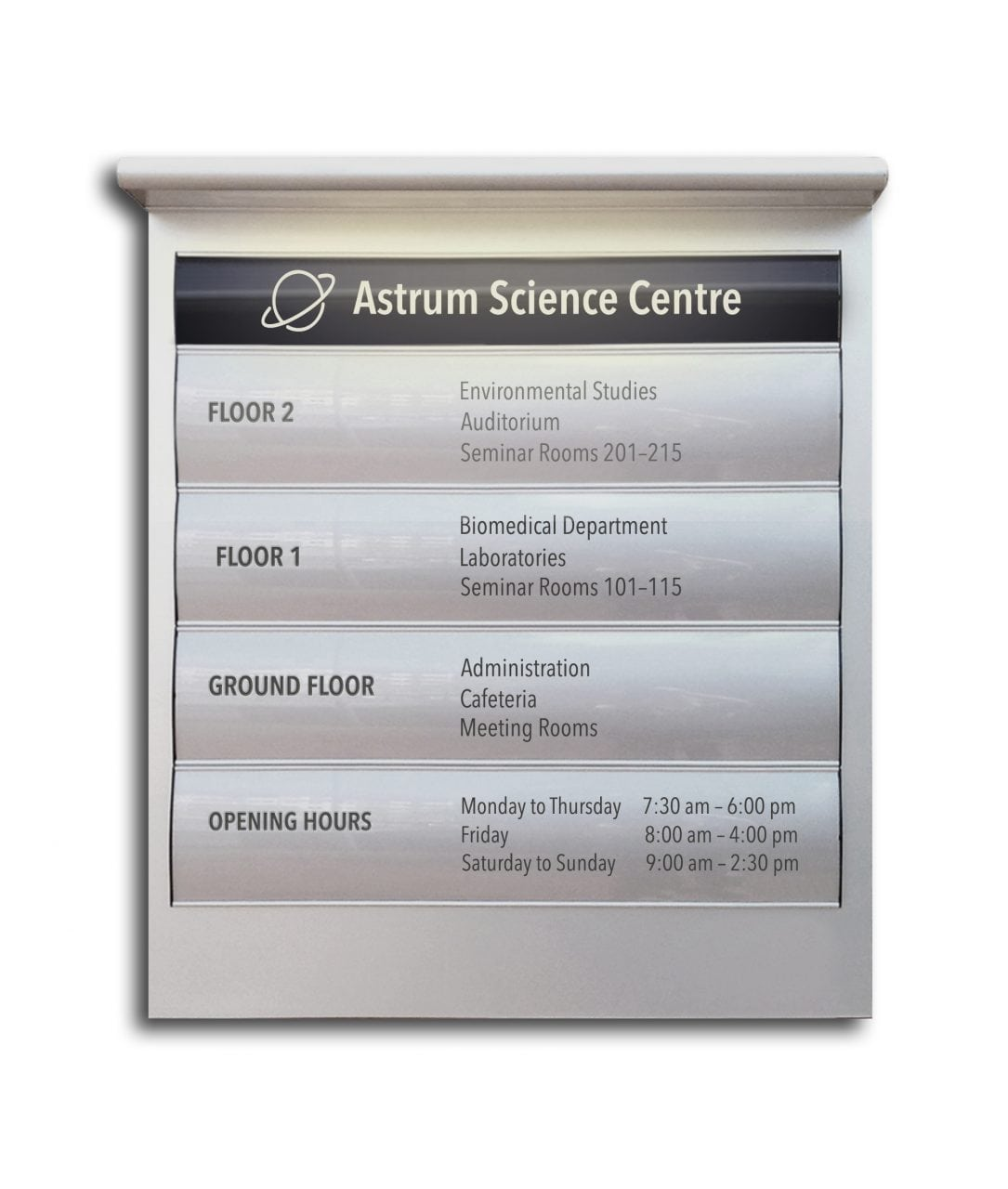 Curved directory sign with light bar – CONVEXA (CN771)
