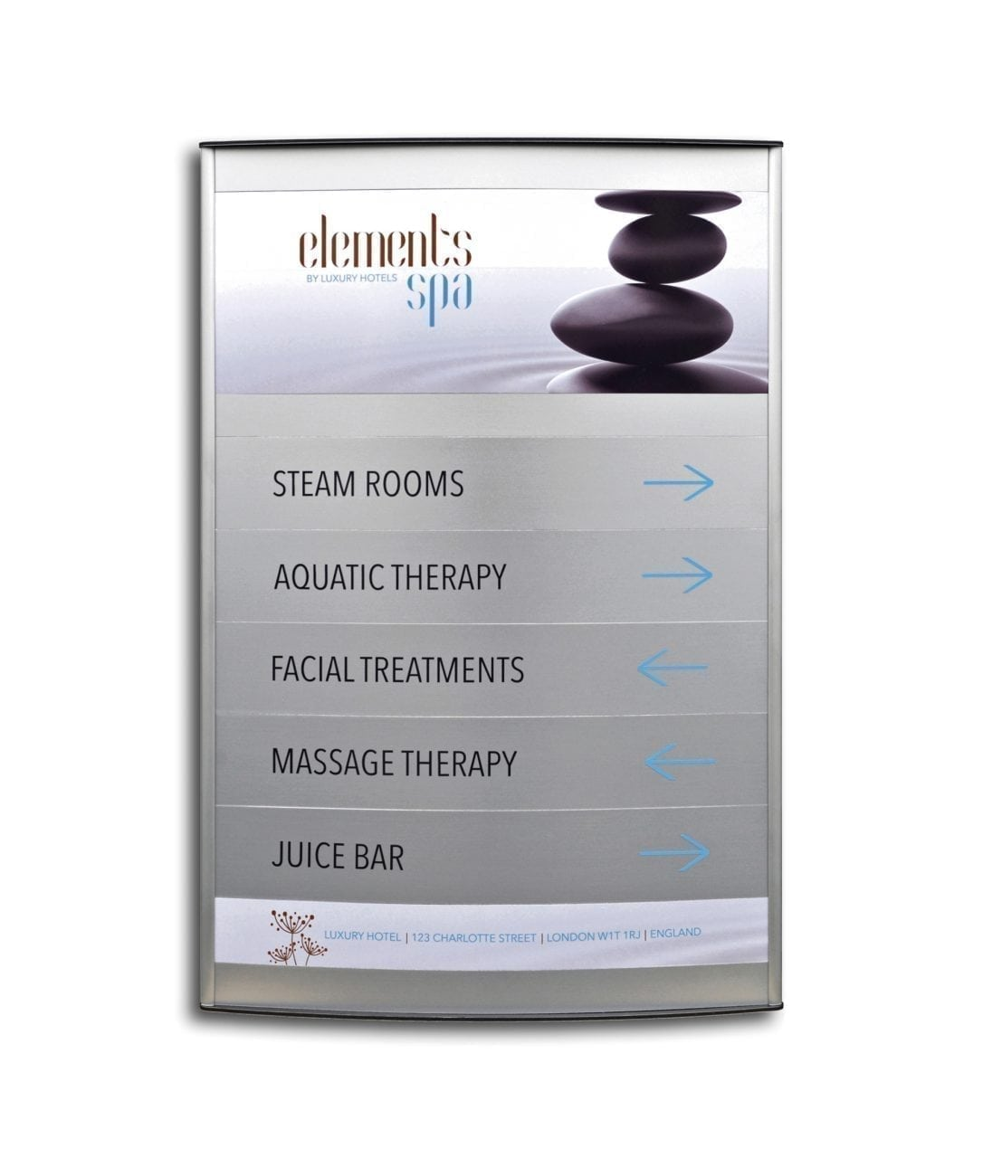 Curved directory sign with replaceable sign rows – ELEGANCE (EG360)