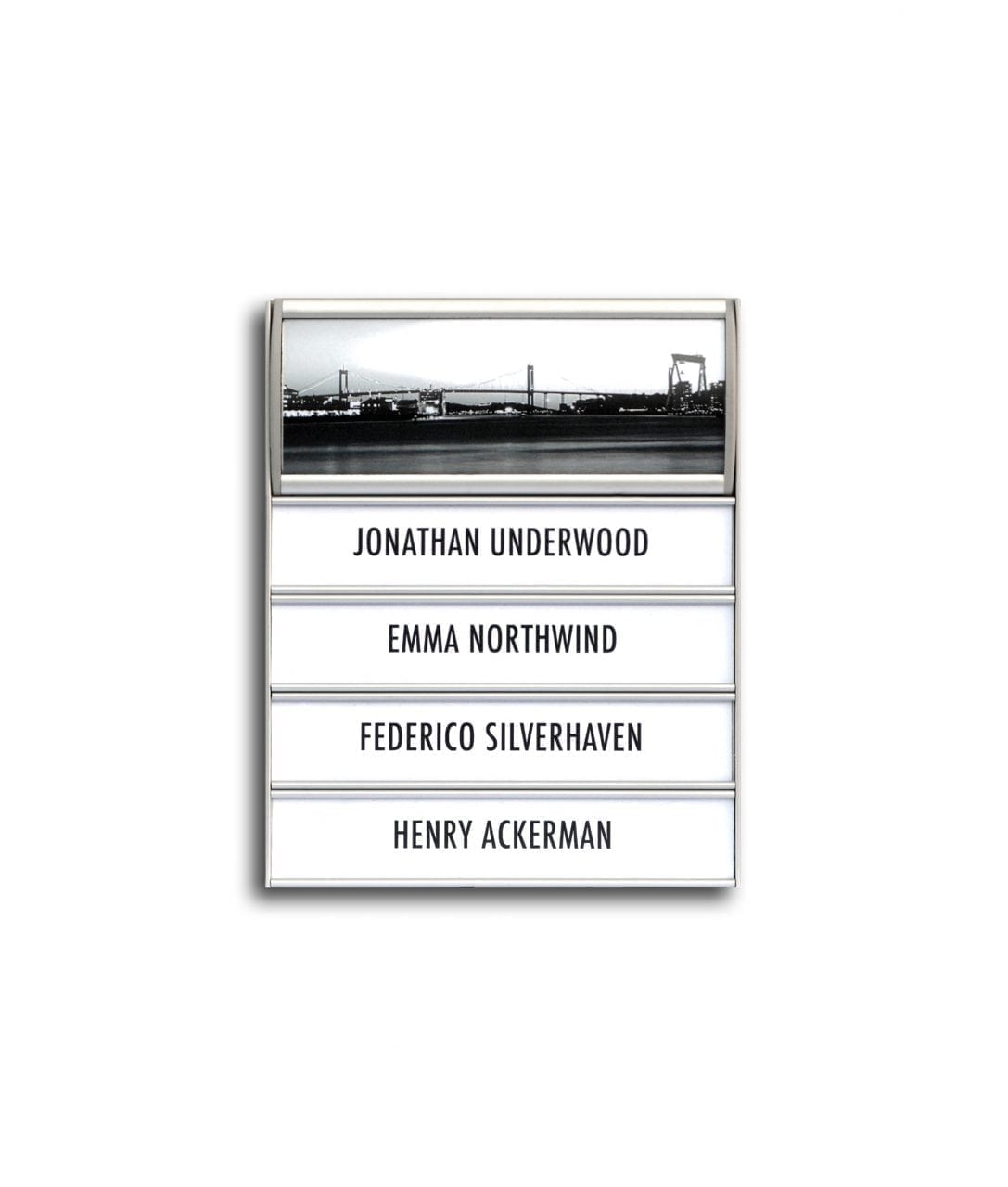 Flat nameplate with curved sign header – MAGNETIC (MG535)