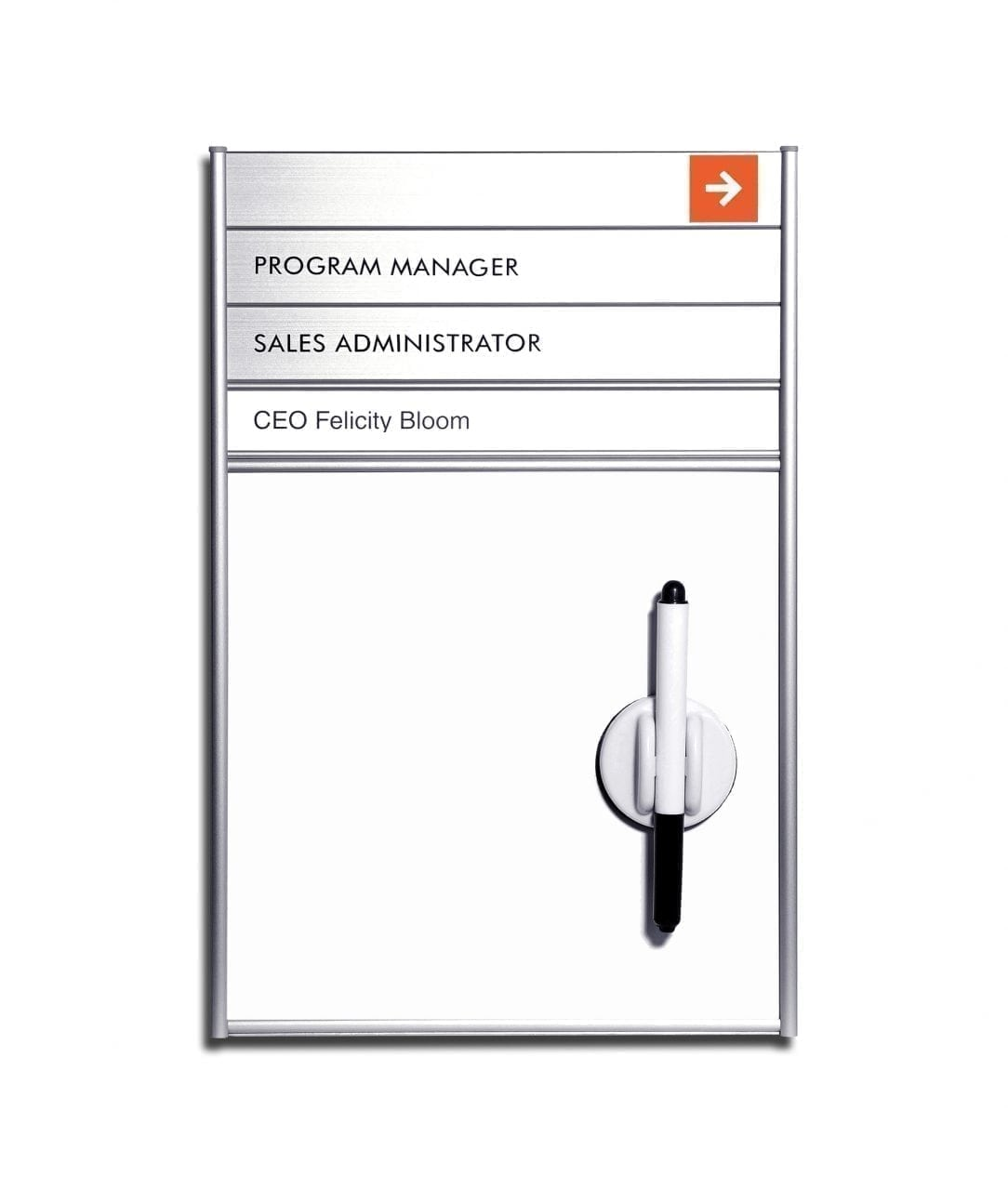 Whiteboard sign, replaceable sign rows and insert – SLIDE-DOWN (WB961)