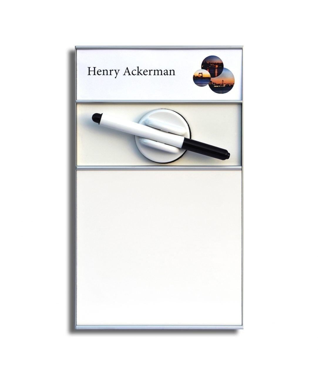 Whiteboard sign with nameplate – SLIM (WB1419)