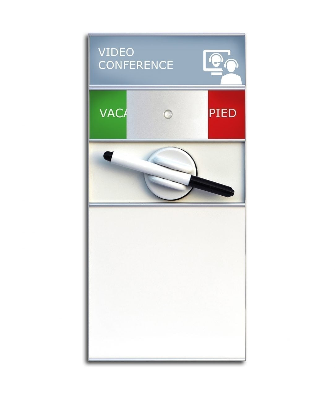 Rumsskylt med Ledigt/Upptaget-skylt och whiteboard – SLIM (WB982)