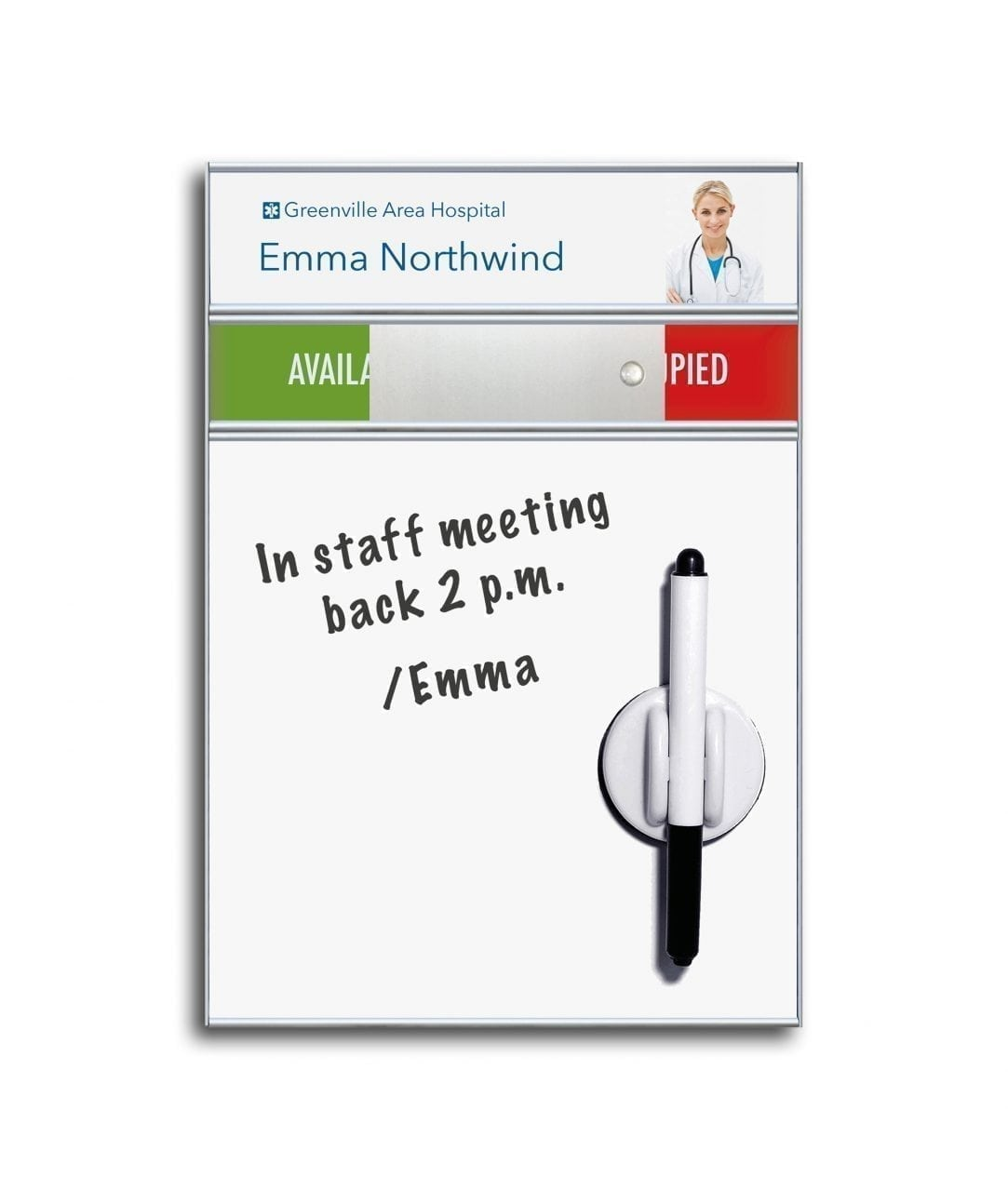 Whiteboard sign with nameplate and slider – SLIM (WB985)