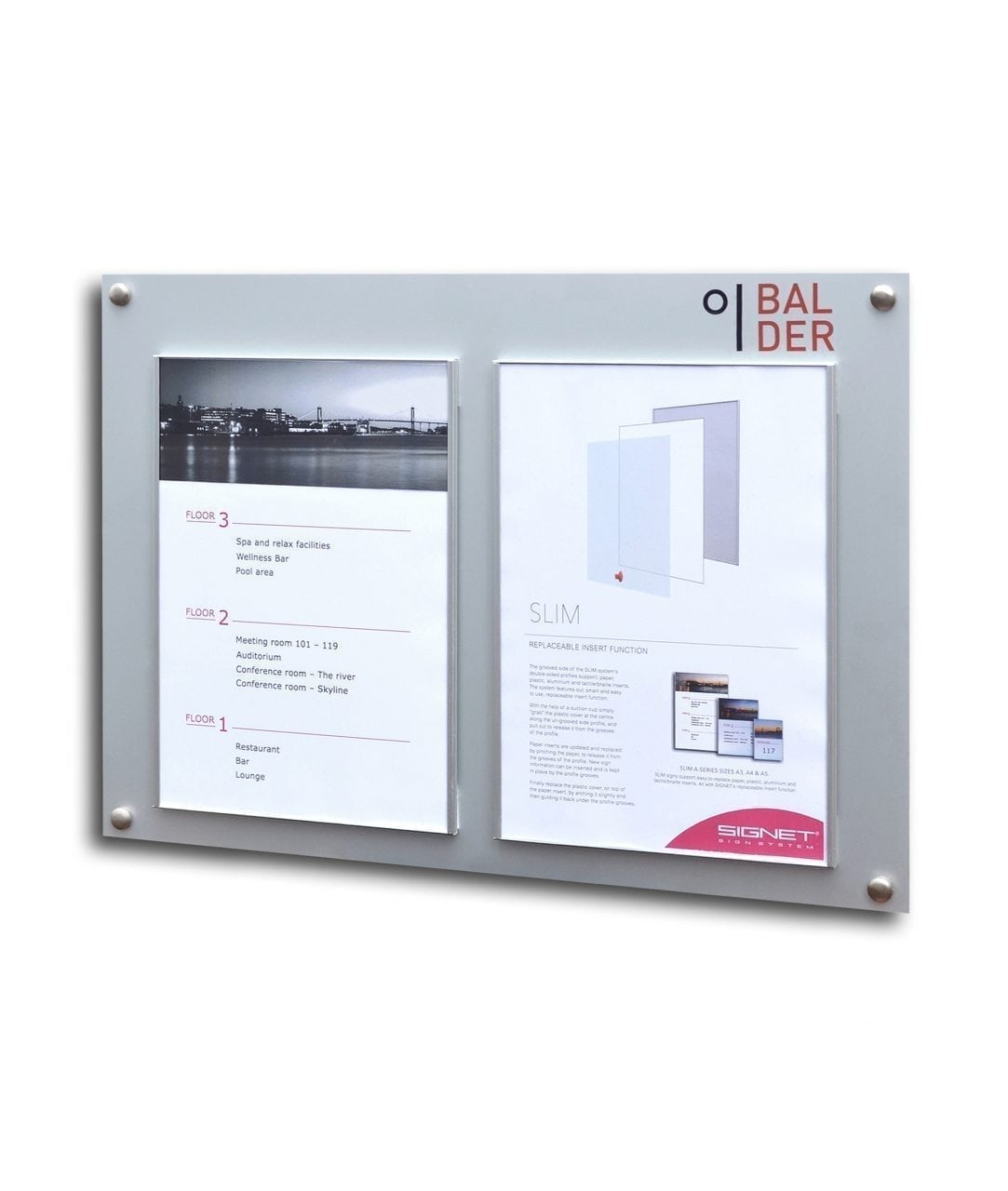 Bulletin board with replaceable A4-size printouts – SLIM (SL836)