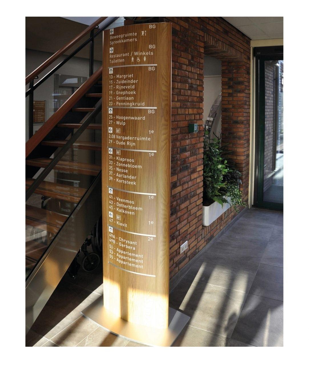 Konvex pylonskylt, inomhus – TOTEM (TM291)