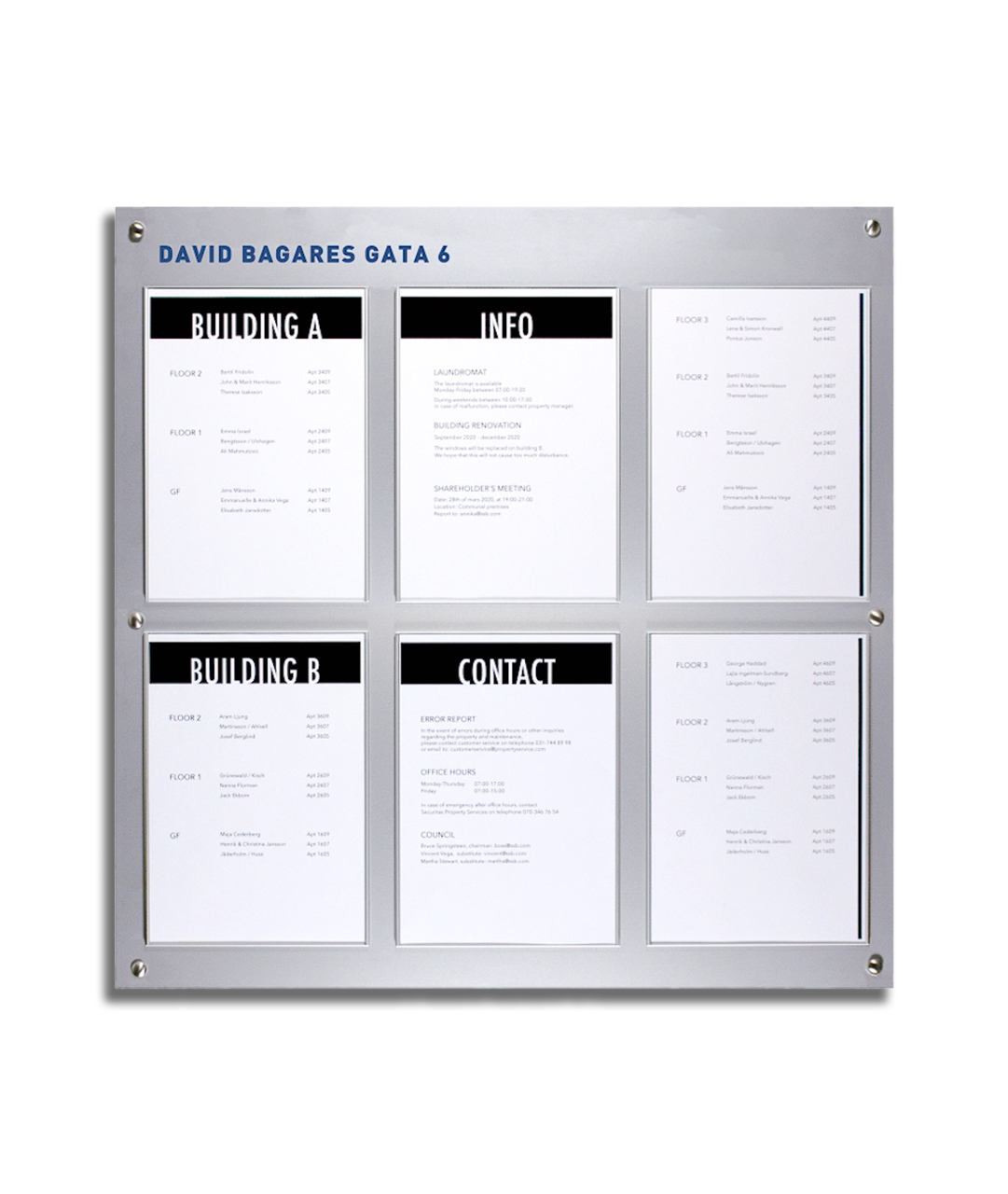 Bulletin Board with 6xA4 Information Signs (BB1001)
