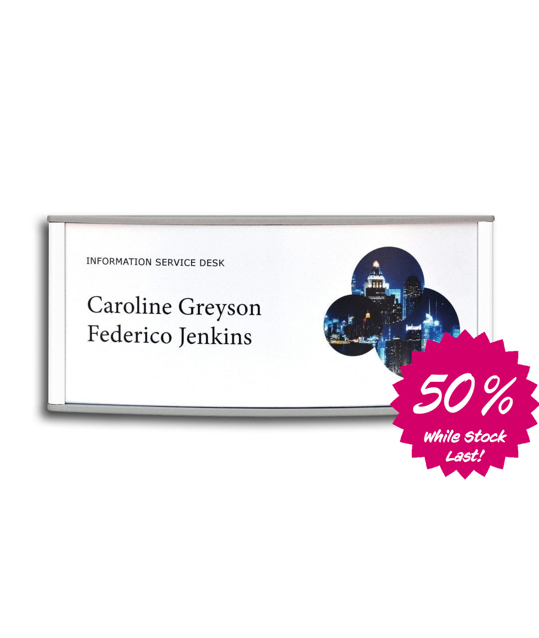 Curved nameplate with replaceable paper insert, white – CONVEXA (CN786W)