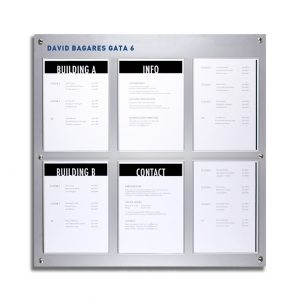 One of SIGNET Sign System's great-looking Information Signs, a bulletin board with 6 A4 frames for replaceable paper inserts.