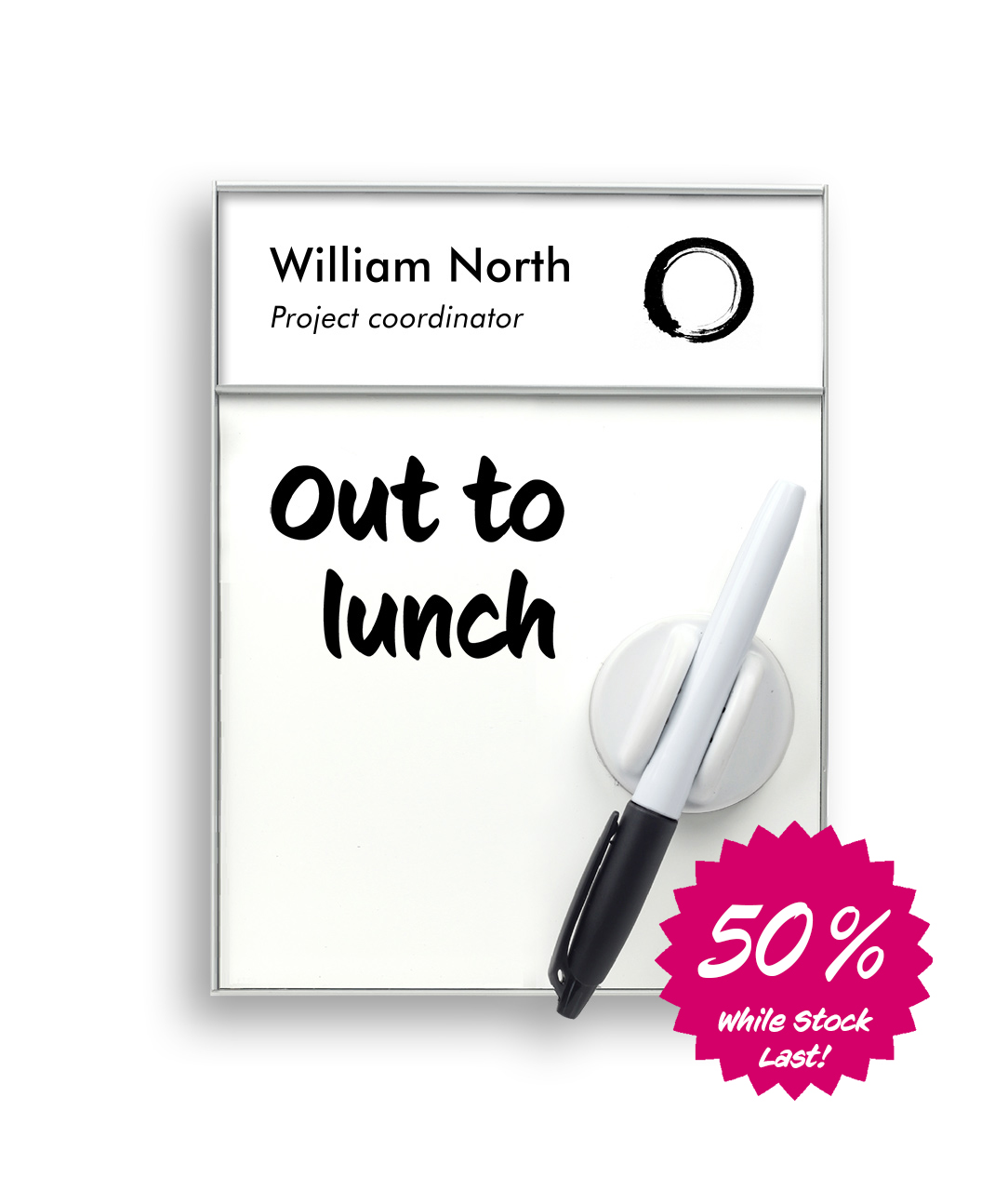 Door Sign with Name Plate and Whiteboard (WB1405-X)